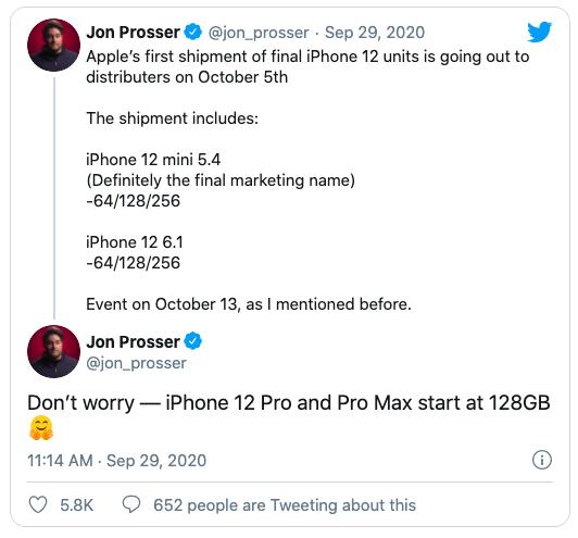Tiết lộ của Jon Prosser về dung lượng bộ nhớ và ngày ra mắt loạt iPhone 12.