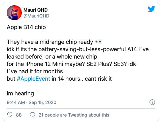 MauriQHD cho rằng Apple sẽ trang bị chip B14 mới cho iPhone 12 mini và các model giá rẻ khác trong tương lai.