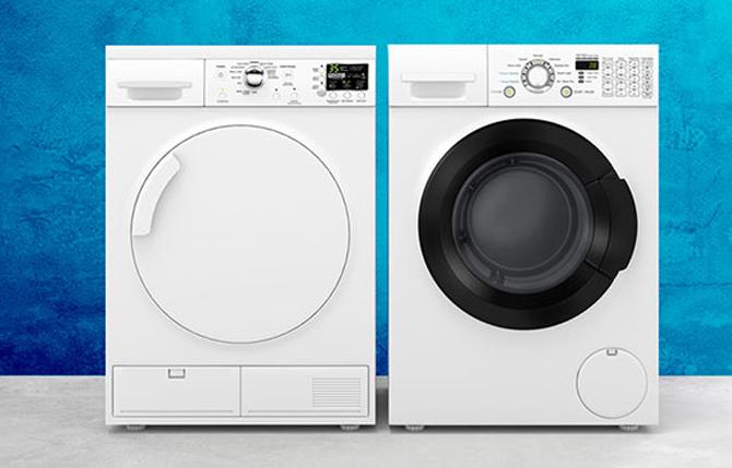 Máy sáy ngưng tụ (trái) và máy sấy thông nhiệt có thiết kế khá giống nhau.