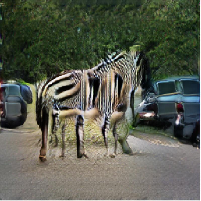 Hình ảnh một con ngựa vằn đang đi trên đường khi hai xe ô tô lao đến được tạo bởi AI2.