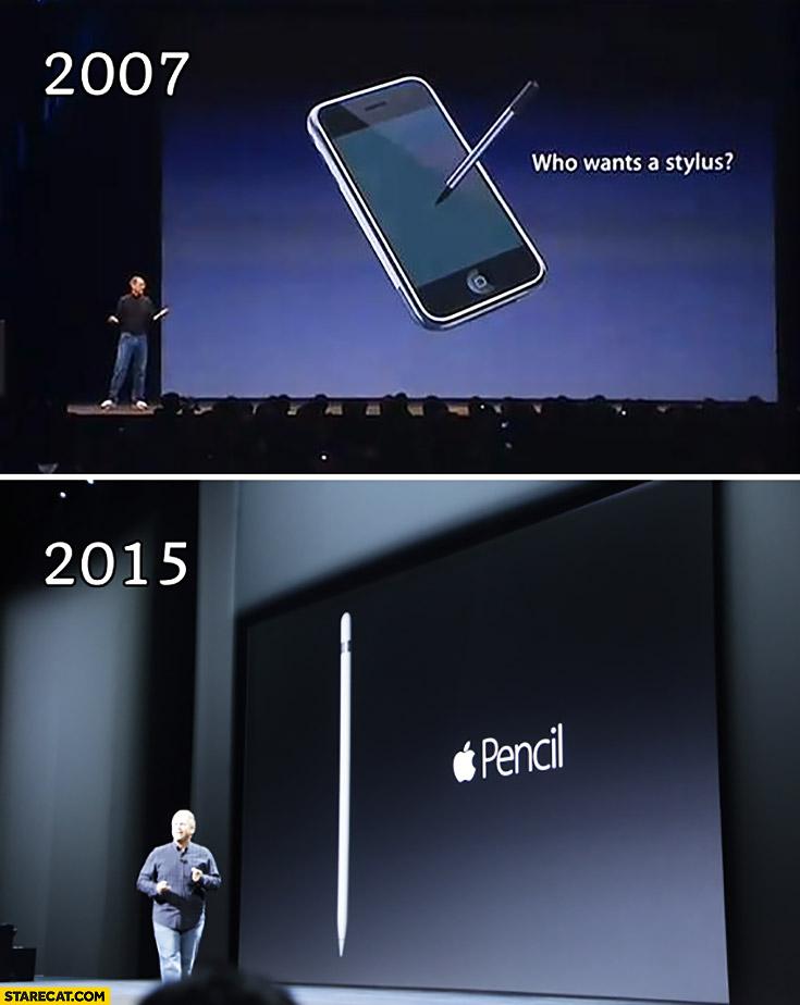 4 năm sau ngày Steve Jobs mất, Tim Cook đã đưa bút cảm ứng trở lại với Apple. Ảnh: Starecat.