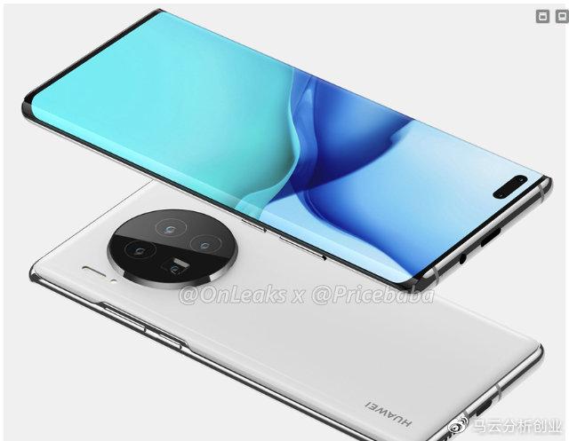Mẫu Huawei Mate 40 Pro với màn hình thác đổ và cụm camera 5 ống kính. Ảnh: OnLeaks.