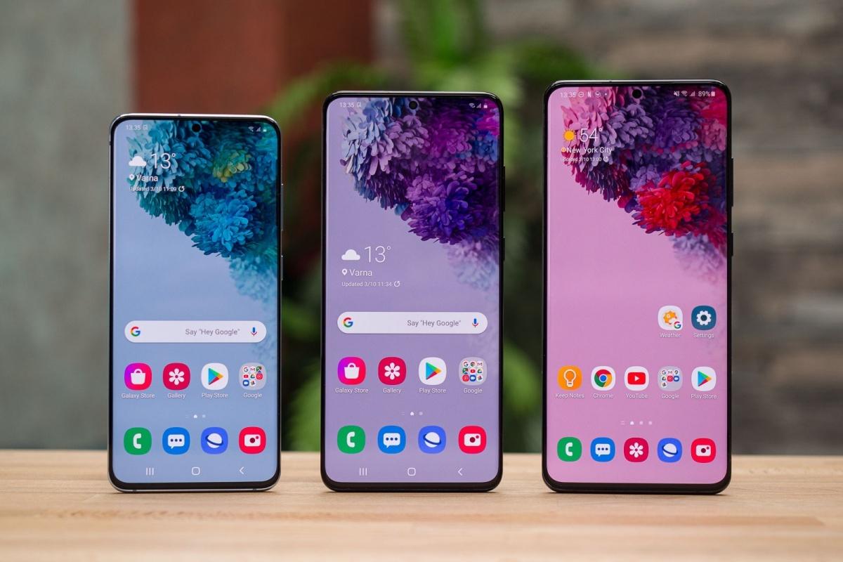 Từ trái qua phải là Samsung Galaxy S20, S20+ và S20 Ultra. Ảnh: PhoneArena.