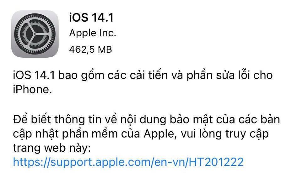 iOS 14.1 có dung lượng gần 500MB, tập trung vào việc sửa lỗi.