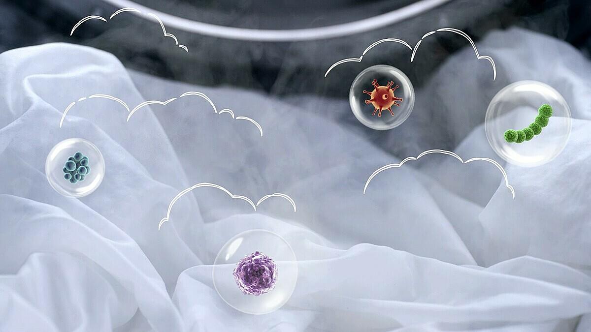 Chùm công nghệ diệt khuẩn 99.9% với giặt hơi nước Steam, sấy khí AirWash và vệ sinh Eco Drum Clean. Ảnh: Samsung.