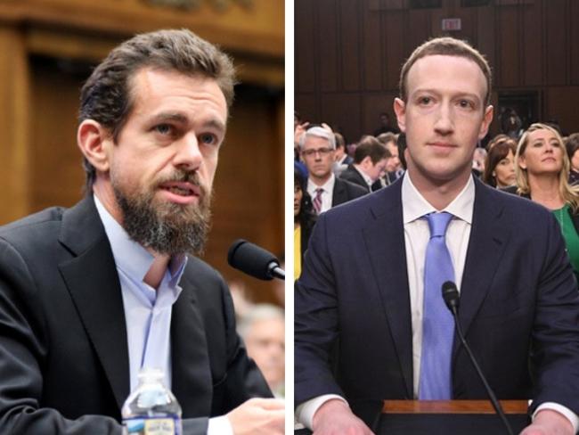 Phiên điều trần của Jack Dorsey (trái) và Mark Zuckerberg (phải) dự kiến diễn ra dứoi hình thức online. Ảnh: Economictimes.