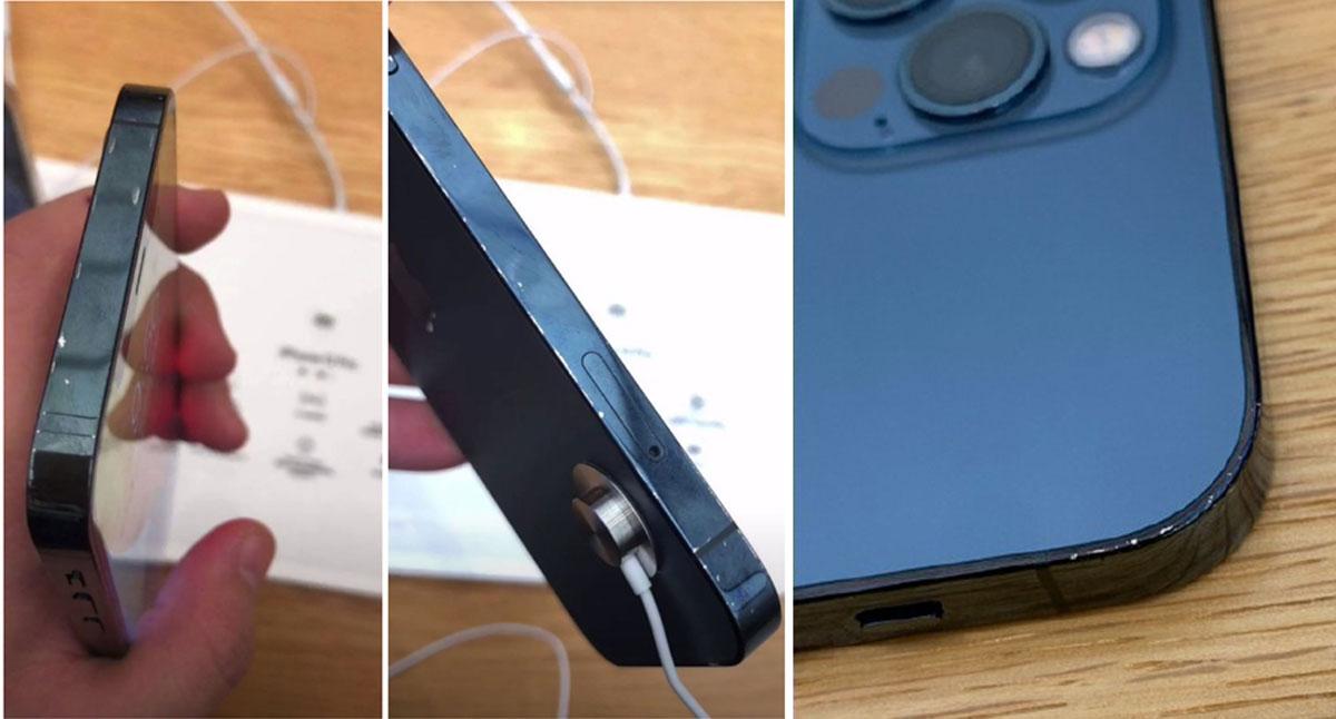 Khung viền của chiếc iPhone 12 màu xanh ở Trung Quốc bị bong tróc sau vài ngày trưng bày cho khách trải nghiệm.