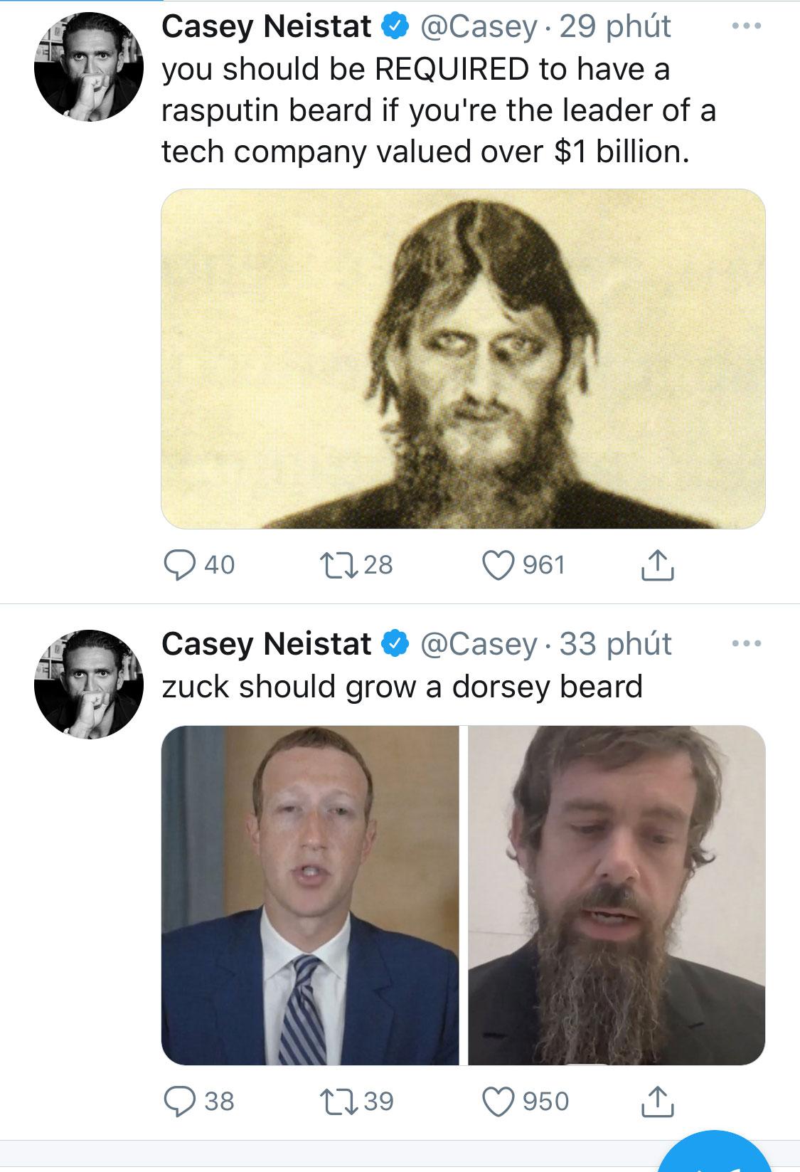Bộ râu của CEO Twitter trong buổi điều trần trở thành chủ đề bàn tán trên mạng xã hội.