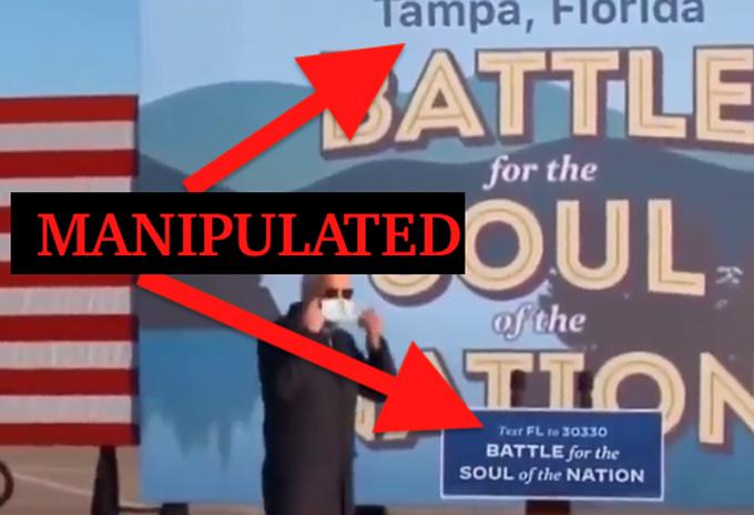 Video chỉnh sửa dòng chữ Minnesota thành Florida. Ảnh: Twitter/Donie OSullivan
