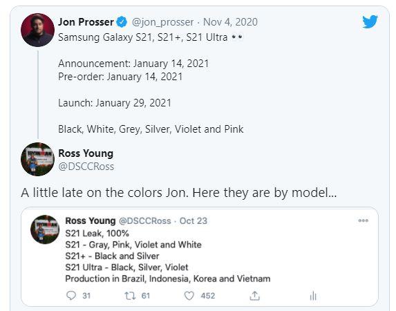 Thông tin hé lộ về thời điểm ra mắt Samsung Galaxy S21. Nguồn: Twitter Jon Prosser