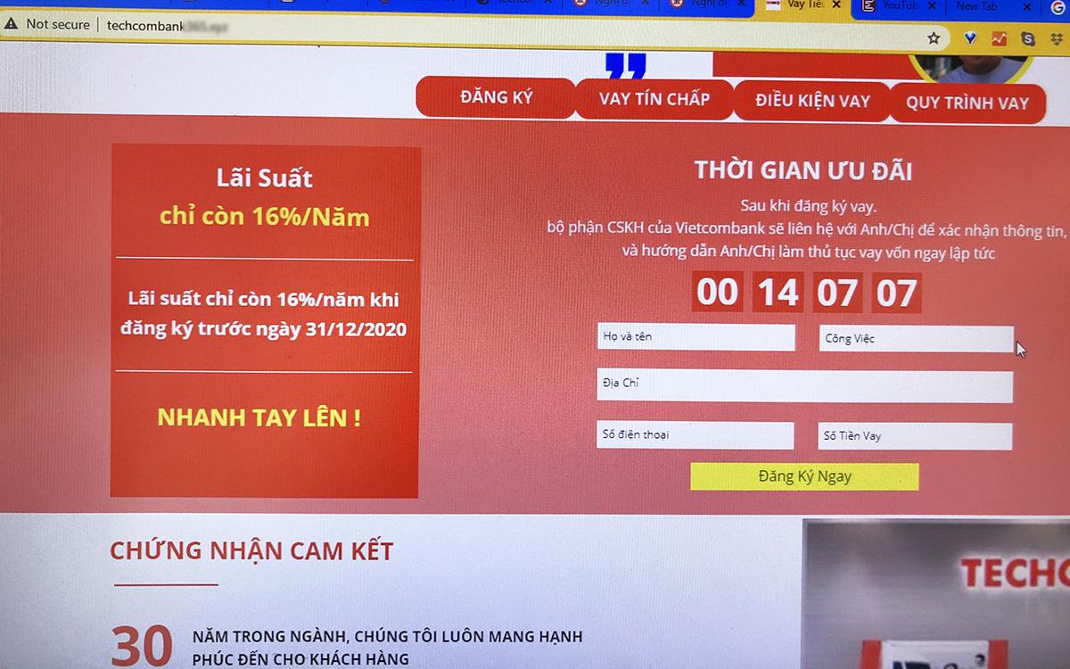 Một website mạo danh ngân hàng, với thông tin không đồng nhất, thiếu bảo mật. Ảnh: Lưu Quý