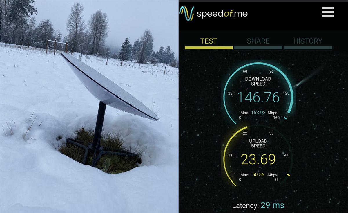 Internet vệ tinh Starlink của SpaceX đạt tốc độ cao dù mưa tuyết. Ảnh: Reddit.