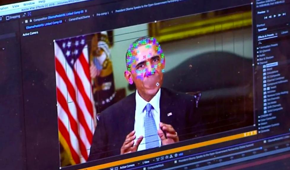 Một video deepfake giả mạo cựu Tổng thống Mỹ Barack Obama đang phát biểu. Ảnh: AP.