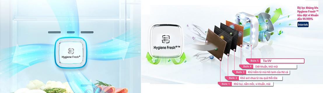 Bộ lọc kháng khuẩn Hygiene Fresh G trên Instaview DID GR-X247MC. Ảnh: LG.