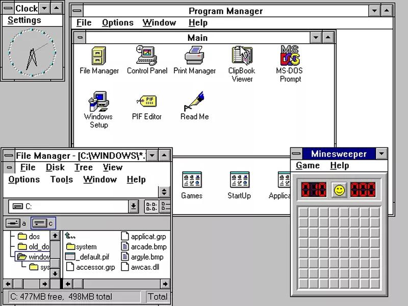 Windows 3.0 kế thừa GUI trên nền hệ điều hành MS-DOS nhưng đã cải tiến giao diện người dùng cũng như sử dụng hệ thống quản lý tập tin mới hơn. Trong bản cập nhật 3.1, trò chơi Dò mìn ra mắt.