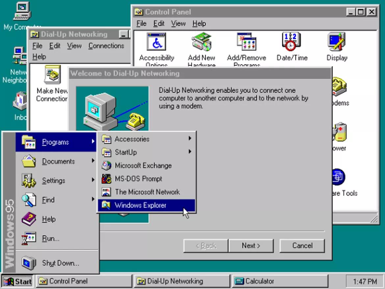 Windows 95 đánh dấu kỷ nguyên của Windows hiện đại và là một trong những bản cập nhật quan trọng nhất của Windows. Lúc này, Microsoft chuyển qua hệ 32-bit, cho ra mắt menu Start cũng như Internet Explorer và mở ra một kỷ nguyên mới về ứng dụng.