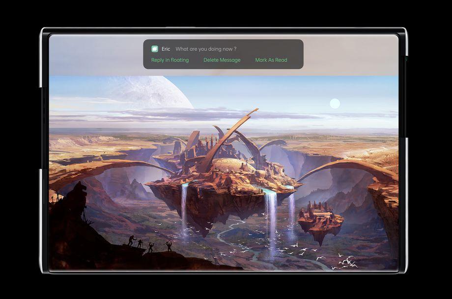 Chế độ toàn màn hình của Oppo X 2021. Ảnh: Oppo.