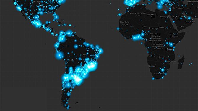 Bản đồ nhiệt về mức độ quan tâm của người dùng trên thế giới với sự ra đi của Maradona. Ảnh: Twitter