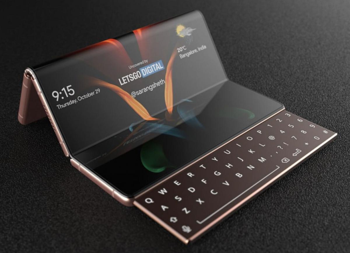 Galaxy Z Fold 3 có thể gập 2 lần và có thêm bàn phím trượt. Ảnh: LetsGoDigital.