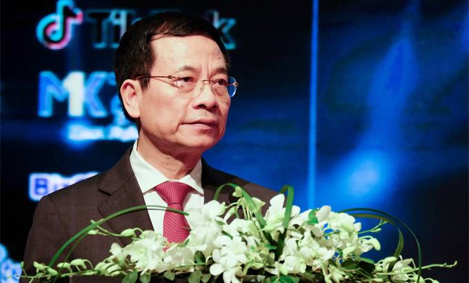 Bộ trưởng Bộ Thông tin và Truyền thông Nguyễn Mạnh Hùng. Ảnh: Mạnh Hưng