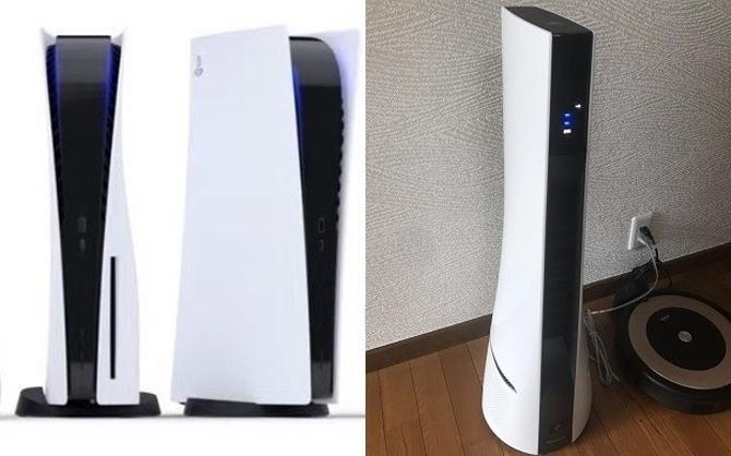 Máy Sony PlayStation 5 (bên trái) và một mẫu máy lọc khí có kiểu dáng giống. Ảnh: Instantgame