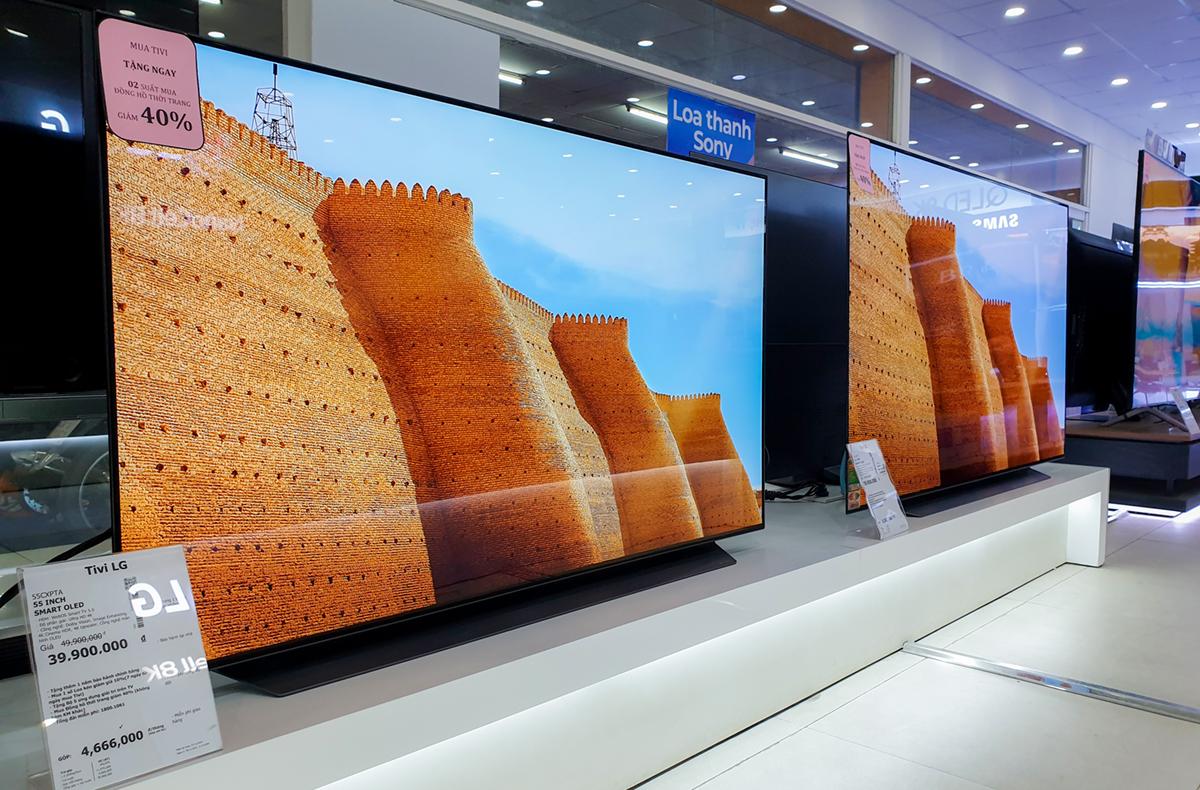 Mẫu TV 4K 55CXPTA của LG giảm 10 triệu đồng, từ 49,9 triệu đồng còn 39,9 triệu đồng. Ảnh: Bảo Lâm.