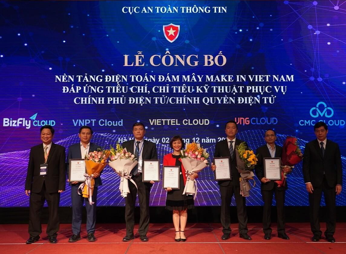 Đại diện 5 doanh nghiệp nhận chứng nhận nền tảng điện toán đám mây an toàn Việt Nam của Bộ Thông tin và Truyền thông. Ảnh: BizFly Cloud.
