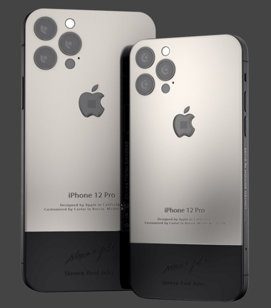 Phiên bản iPhone 12 được chế tác lại theo phong cách iPhone đời đầu. Ảnh: Caviar.