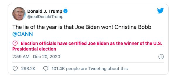 Một tweet của Trump bị Twitter dán nhãn cảnh báo.