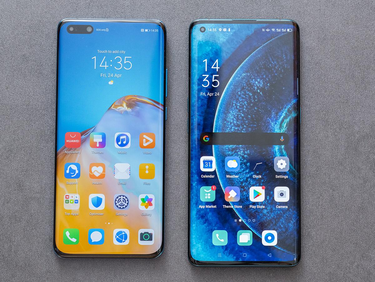 Oppo Find X2 (bên phải) và Huawei P40 Pro là những smartphone đầu tiên hỗ trợ 5G tại Việt Nam, có giá 24 triệu đồng. Ảnh: Huy Đức