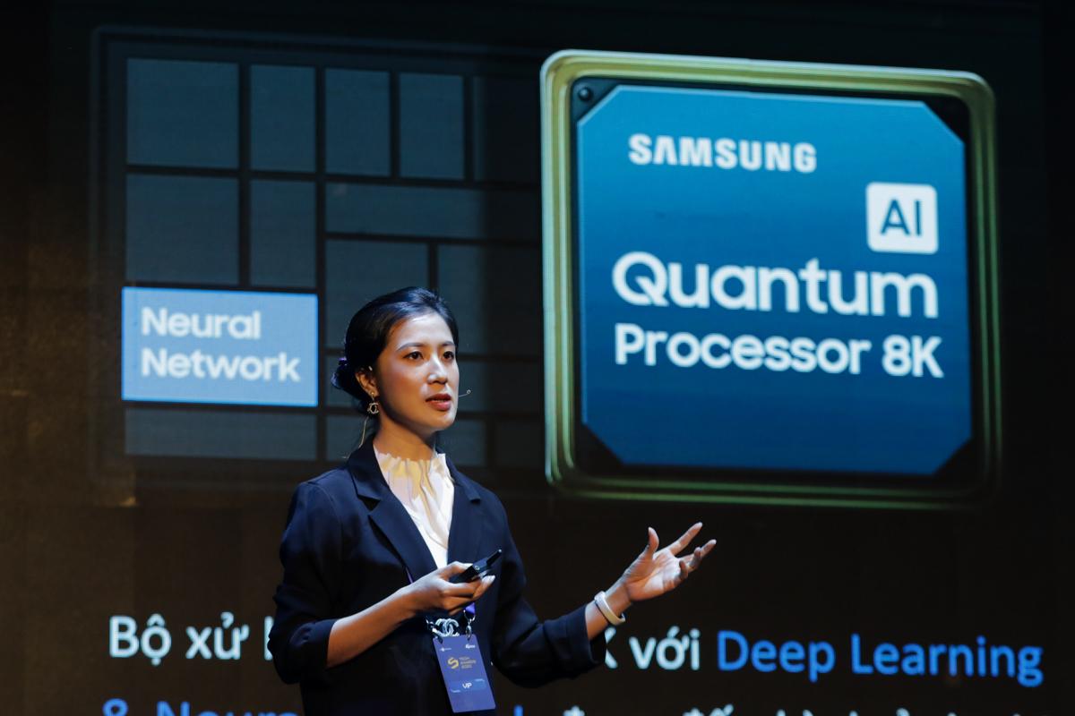 Bà Nguyễn Huyền My - Giám đốc Marketing Ngành hàng Điện tử Nghe nhìn, Công ty Samsung Vina. Ảnh: Quỳnh Trần.