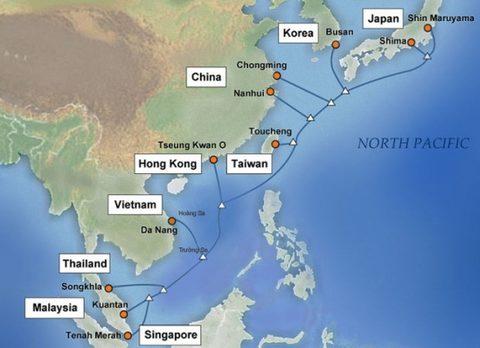 [Caption]Tuyến cáp quang biển APG kết nối Internet Việt Nam đi quốc tế.