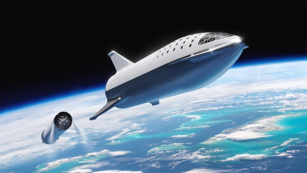 Phi thuyền sau khi tách khỏi Super Heavy. Ảnh: SpaceX.