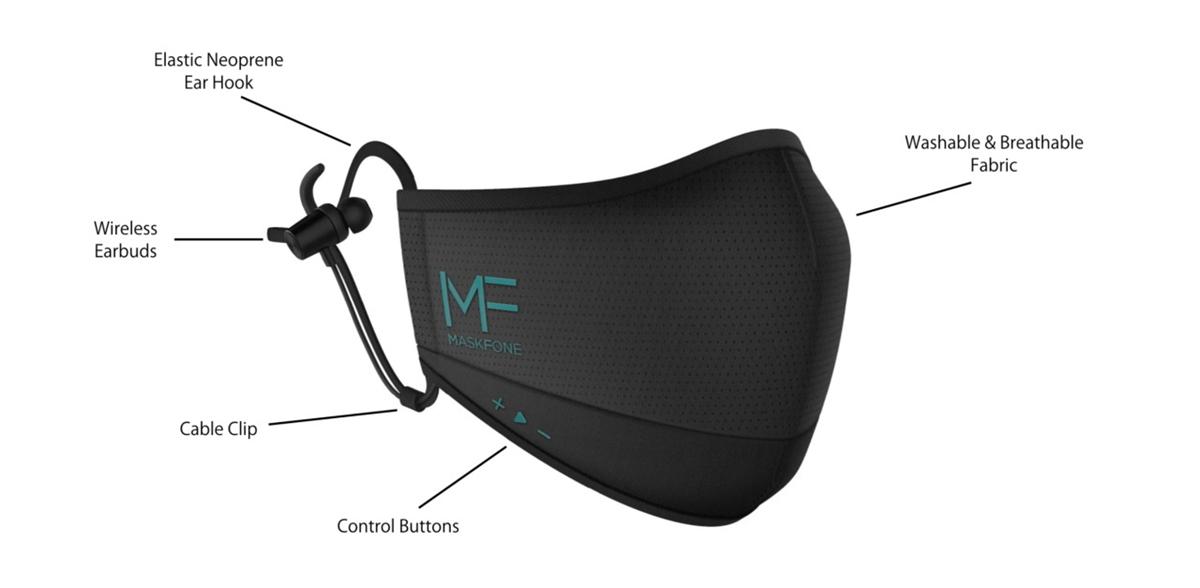 MaskFone là khẩu trang kiêm tai nghe không dây.