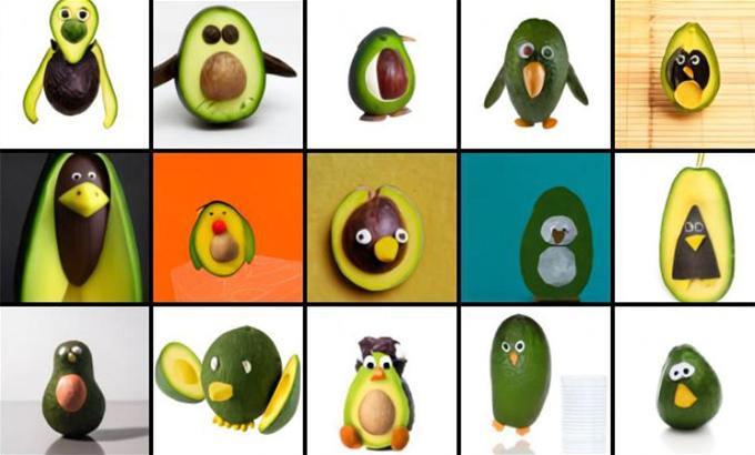 Hình ảnh do DALL-E tạo ra cho ra từ gợi ý: chim cánh cụt làm từ quả bơ.