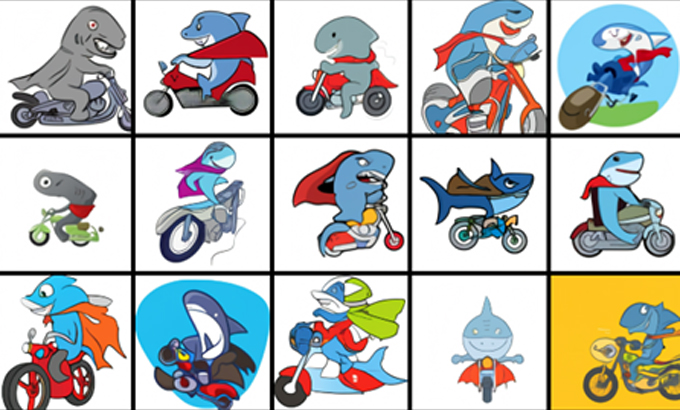 Kết quả tạo ra từ DALL·E cho từ khóa: Cá mập mặc áo choàng đi xe mô-tô.