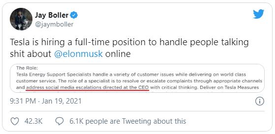 Thông tin tuyển dụng chuyên viên hỗ trợ khách hàng đặc biệt của Tesla thành chủ đề bàn tán trên mạng xã hội.