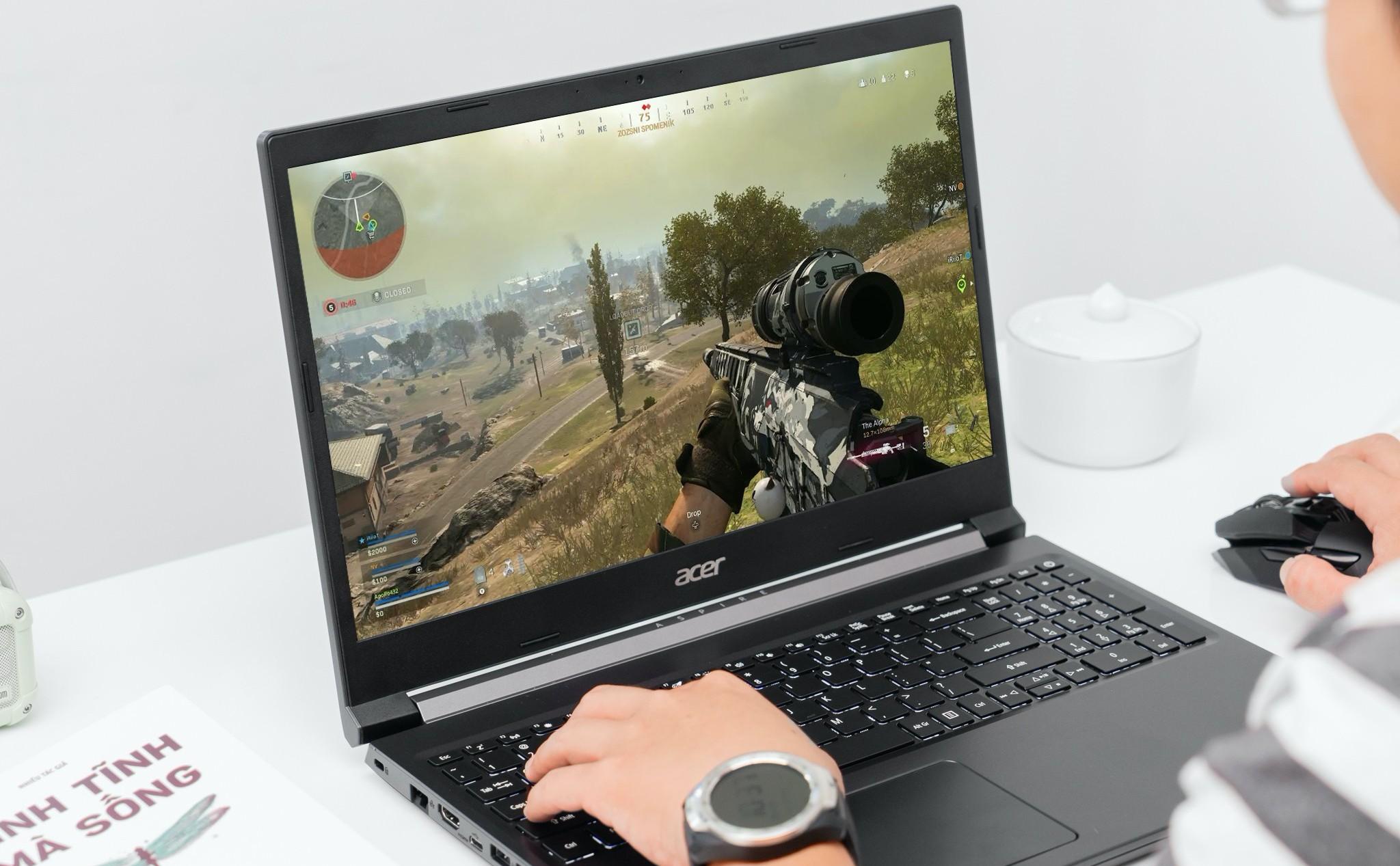 Dù chỉ là laptop gaming phổ thông, Aspire 7 vẫn sở hữu card GTX 1650 Ti. Ảnh: Acer.