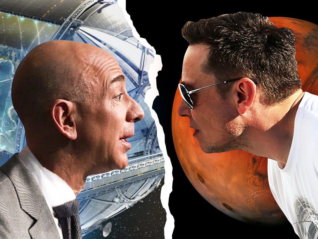 Elon Musk (phải) và Jeff Bezos đều đang có tham vọng phủ sóng Internet vệ tinh. Ảnh: Business Insider.