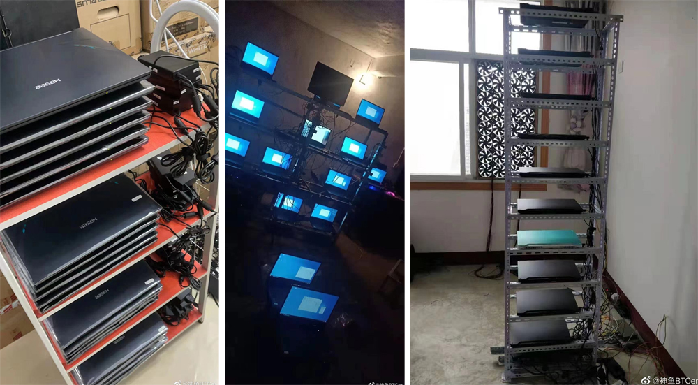 Các nông trại đào coin dùng laptop. Ảnh: Weibo.