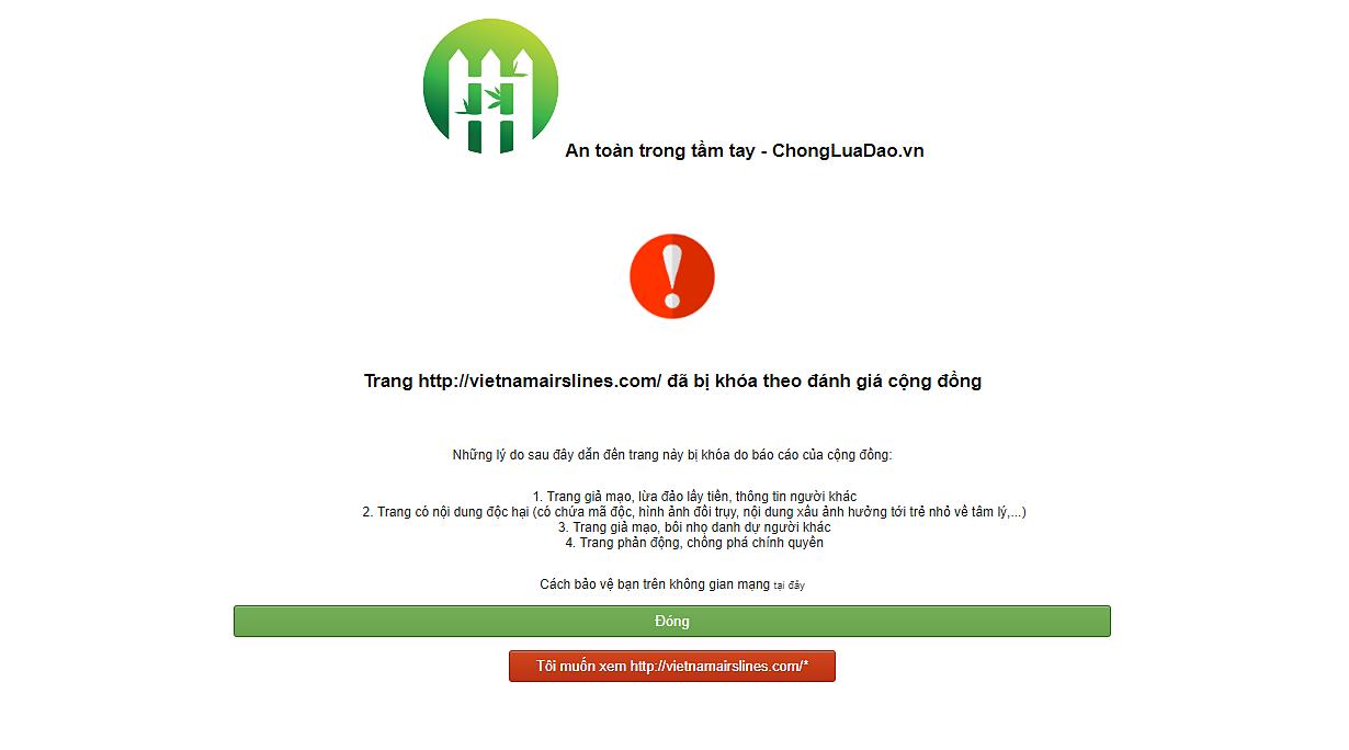 Một website bị khóa do bị đánh giá là lừa đảo.