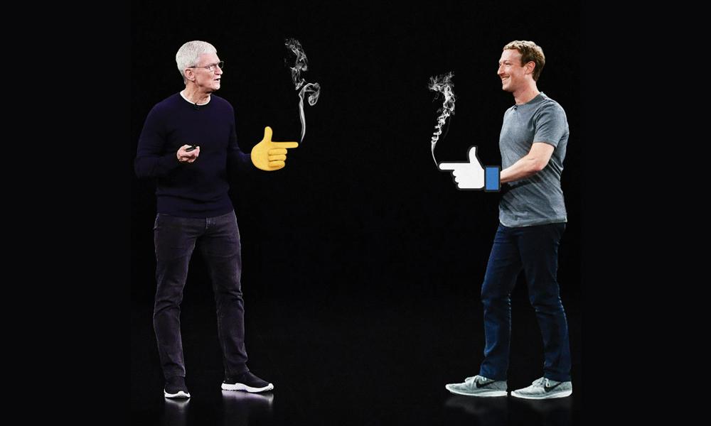 Facebook và Apple đối đầu nhau. Ảnh: WSJ