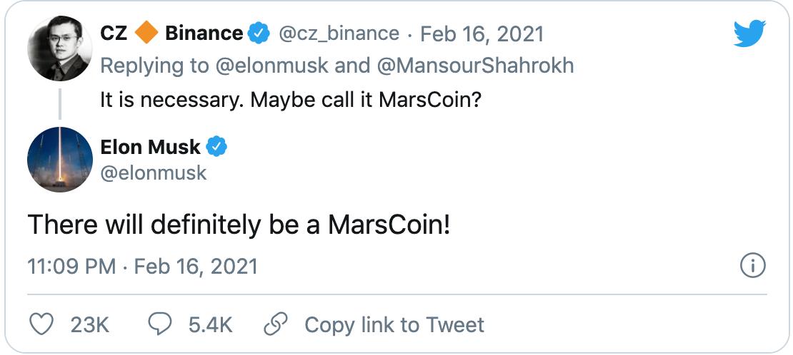 Musk nó về ý định phát hành tiền ảo tên MarsCoin.