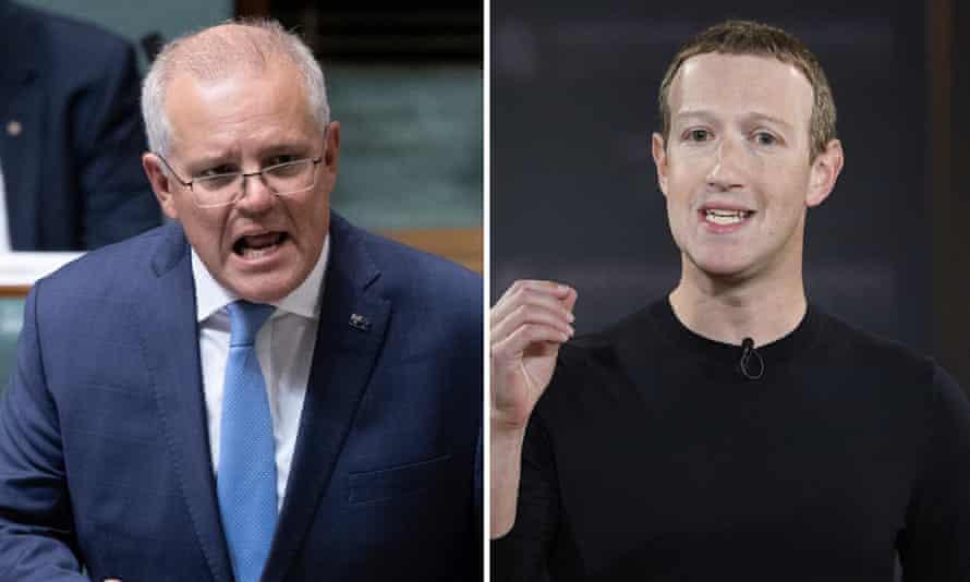 Thủ tướng Australia Scott Morrison (trái) cho rằng các công ty như Facebook có thể thay đổi thế giới, nhưng không điều hành thế giới. Ảnh: AP.