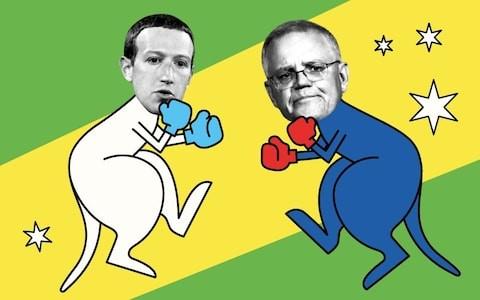 CEO Facebook, Mark Zuckerberg (trái) và Thủ tướng Australia, Scott Morrison. Ảnh: Telegraph.