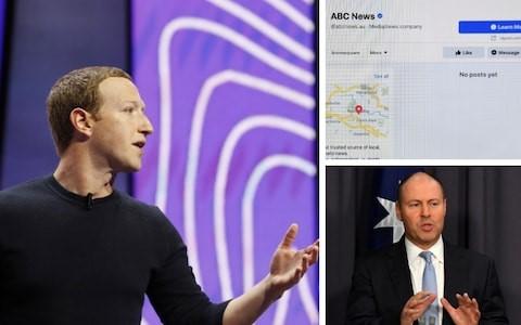 Mark Zuckerberg và Bộ trưởng Ngân khố Australia Josh Frydenberg. Ảnh: Telegraph.