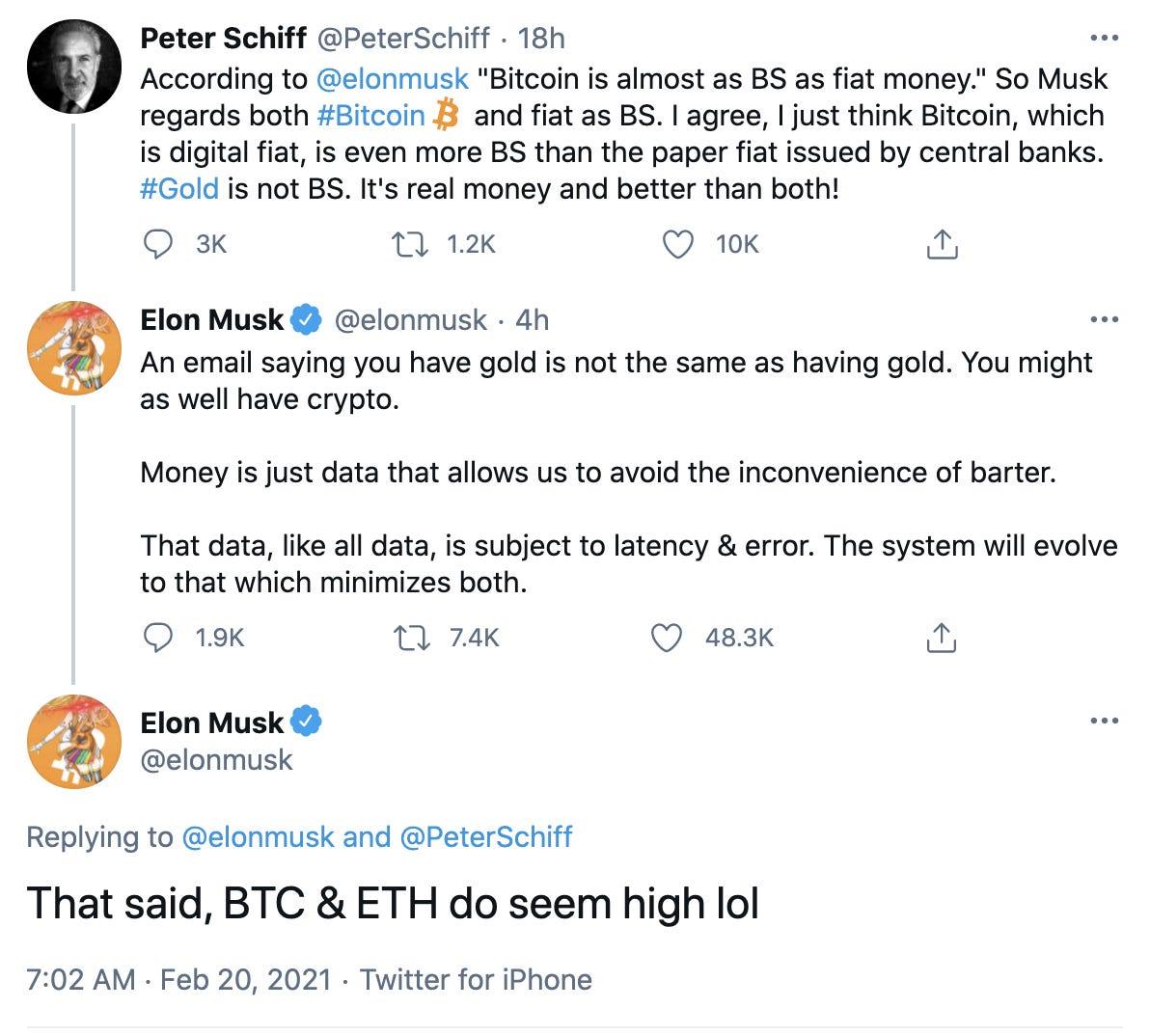 Musk thừa nhận Bitcoin và Ethereum đang có giá hơi cao.
