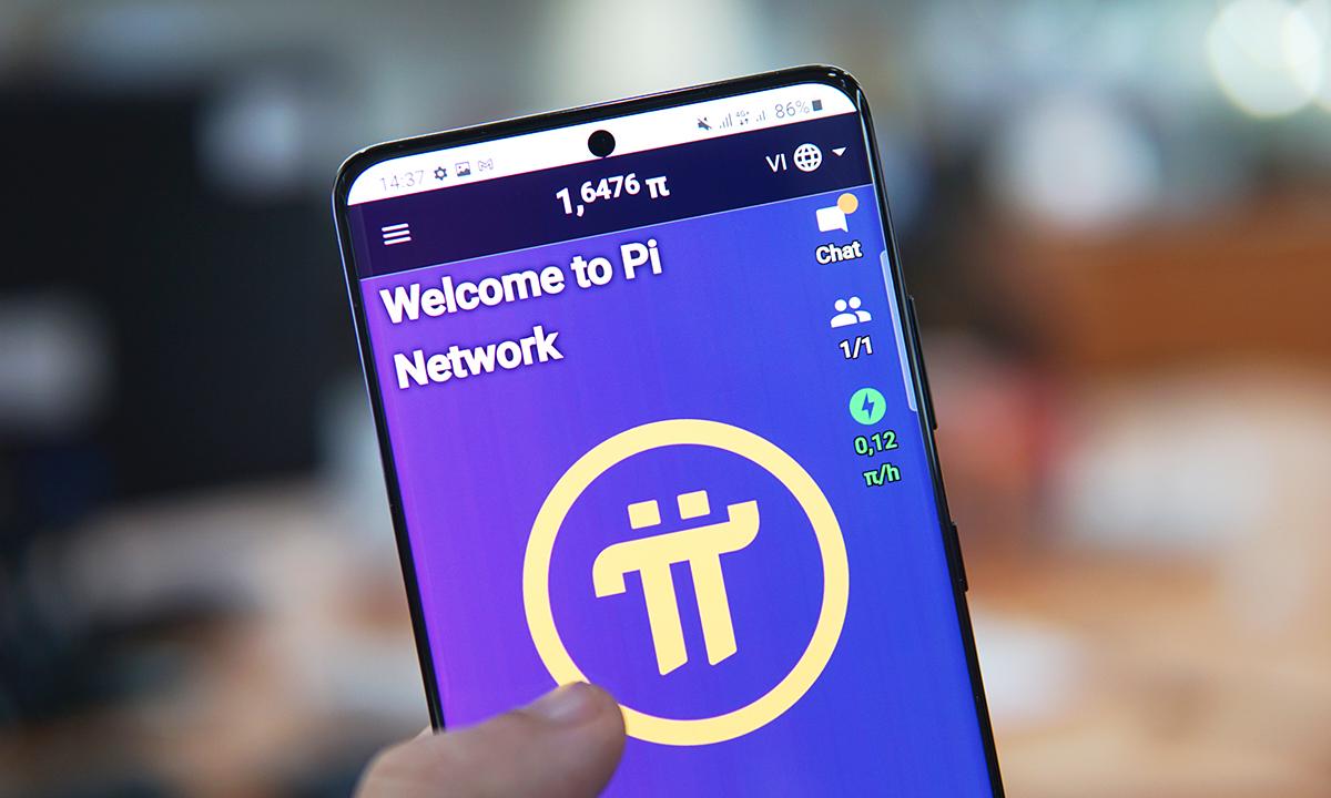 Giao diện của ứng dụng Pi Network. Số lượng đồng Pi trong tài khoản sẽ tăng theo từng giờ dù người dùng không làm gì. Ảnh: Lưu Quý