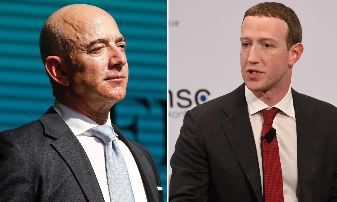 Jeff Bezos và Mark Zuckerberg. Ảnh: AP.