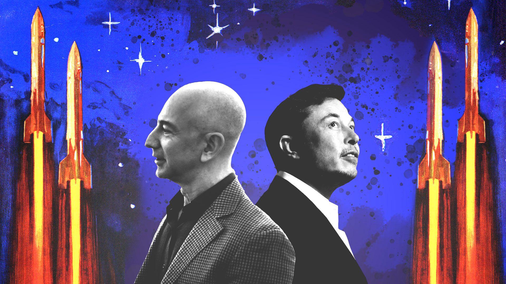 Elon Musk (phải) và Jeff Bezos (trái) có tham vọng lớn trong việc chinh phục vũ trụ. Ảnh: Medium.
